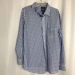 Blue and White Check Long Sleeve Button Down Shirt